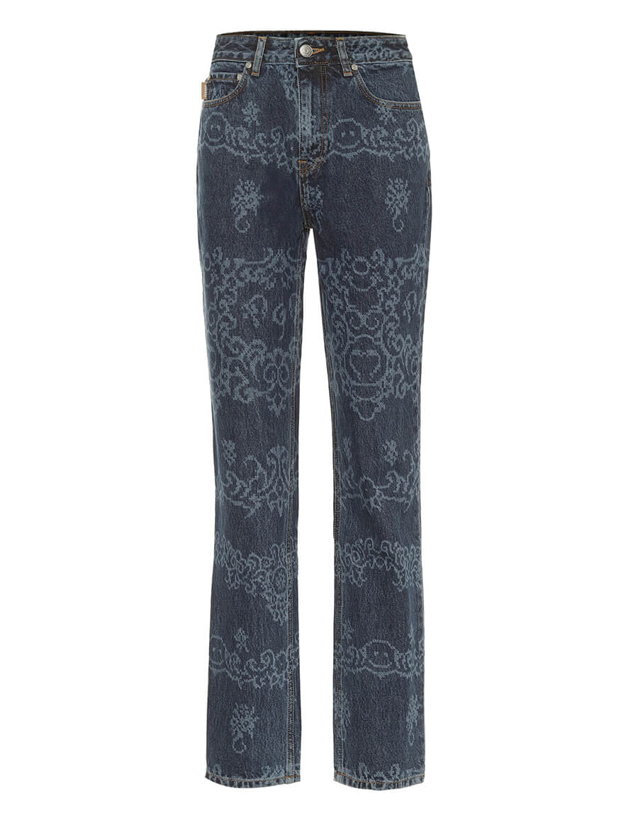 GANNI Printed high rise straight jeans