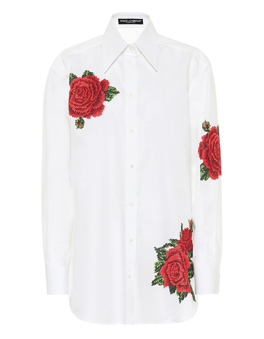 DOLCE & GABBANA Embroidered cotton and silk shirt