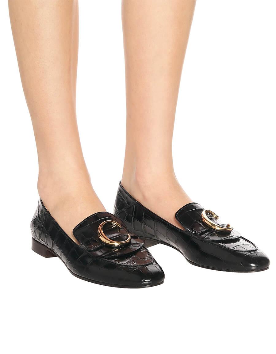 CHLOÉ Chloé C croc effect leather loafers