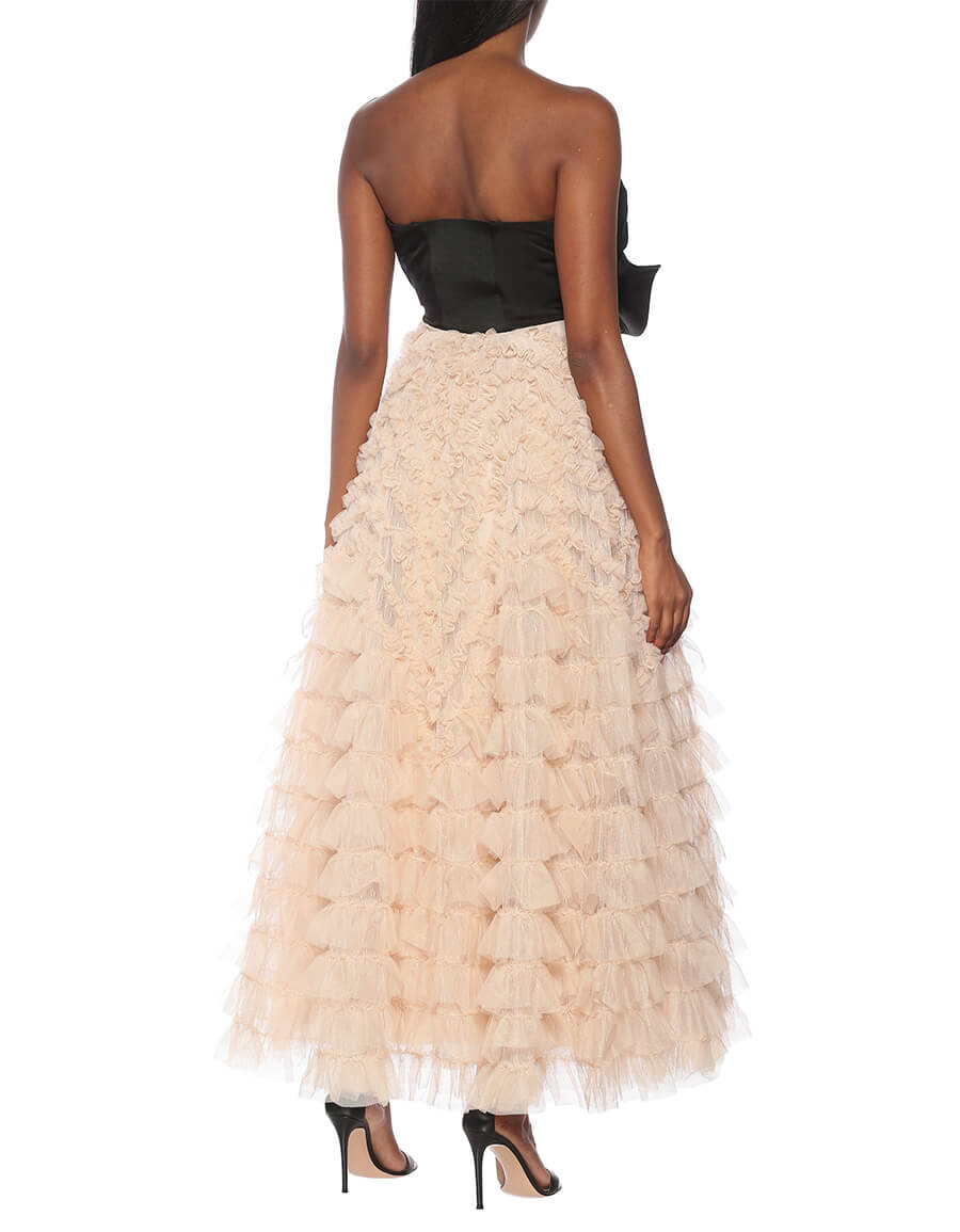 REDVALENTINO Strapless taffeta and tulle gown