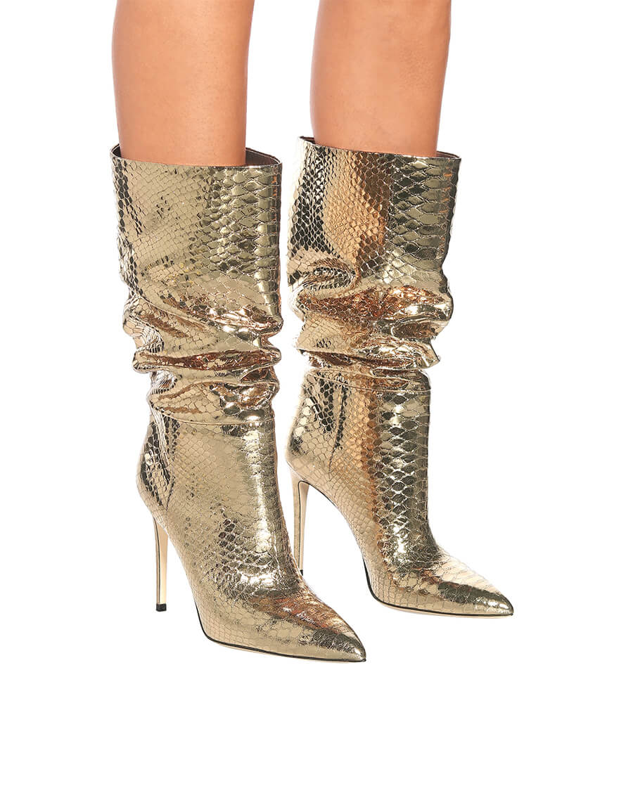 PARIS TEXAS Snake effect metallic leather boots