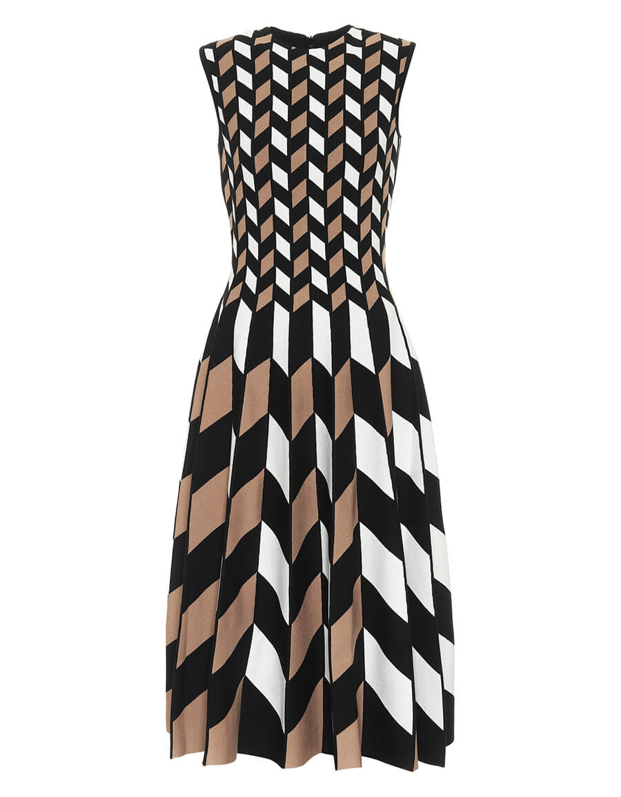 OSCAR DE LA RENTA Pleated jacquard midi dress