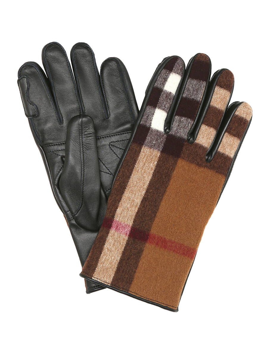 BURBERRY Checked wool and leather gloves
