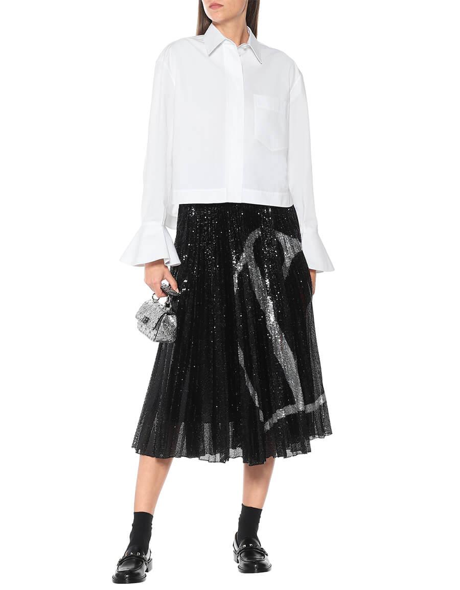 VALENTINO VLOGO sequined jersey midi skirt