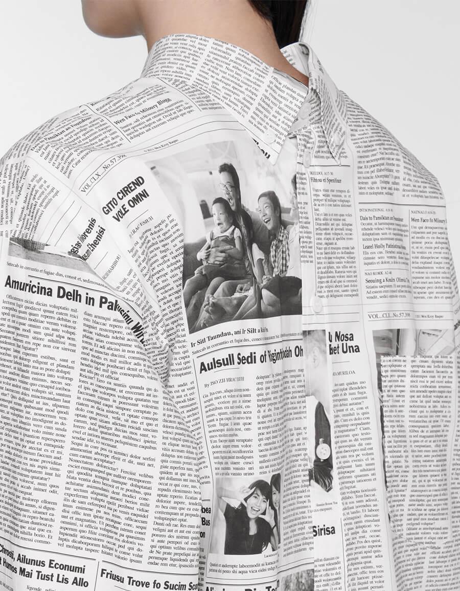 BALENCIAGA Printed oversized cotton poplin shirt