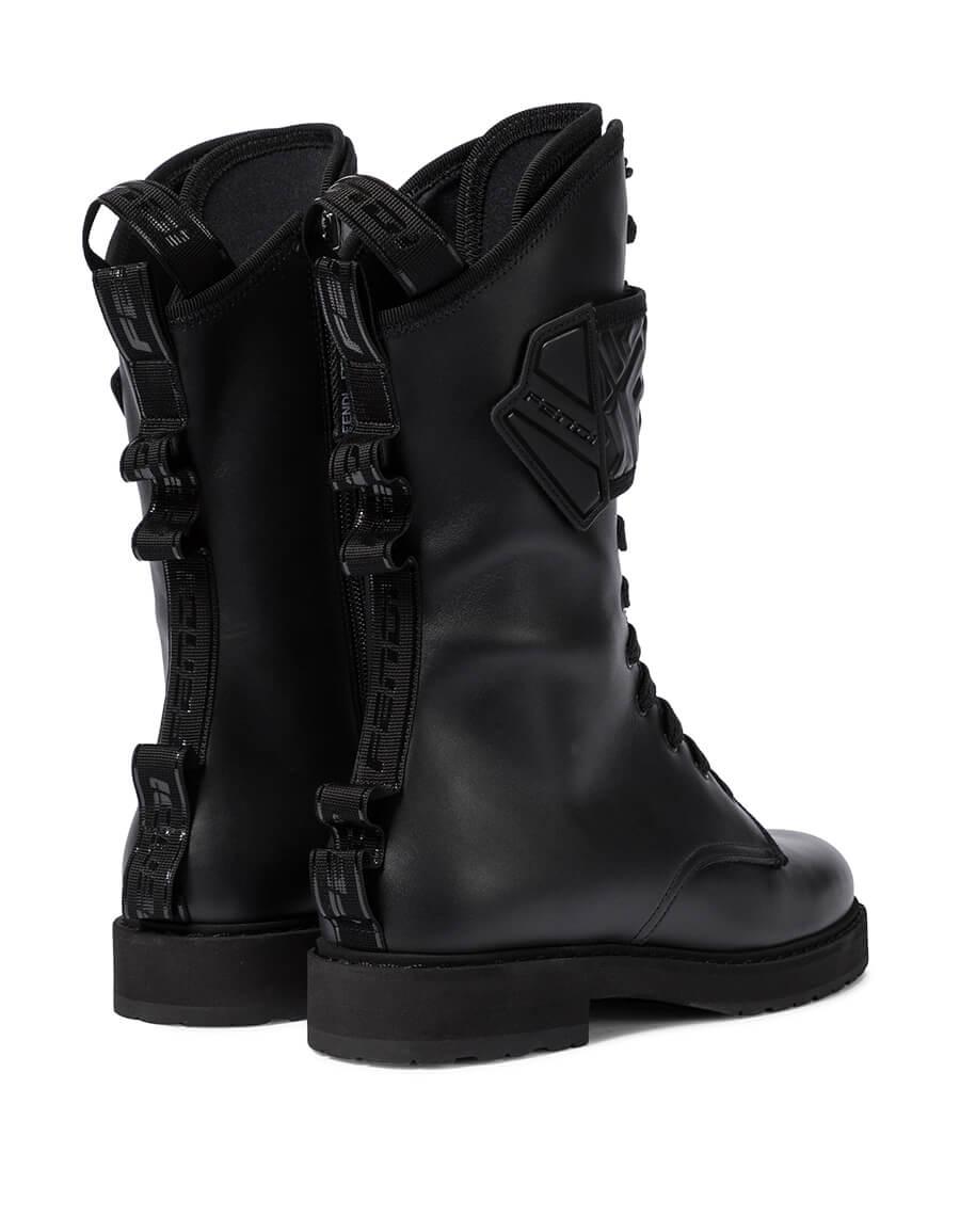 FENDI FF leather combat boots