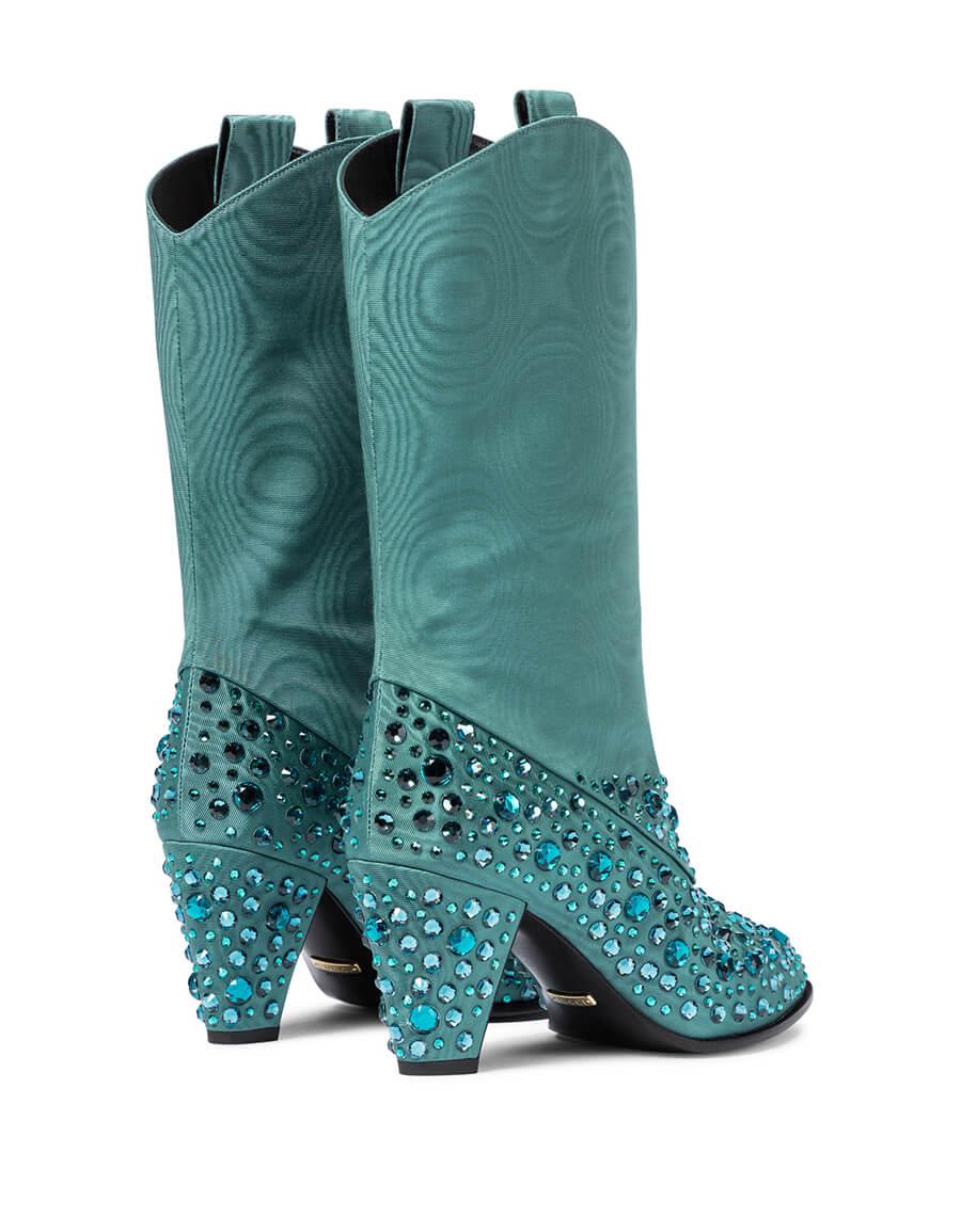 GUCCI Embellished moiré cowboy boots