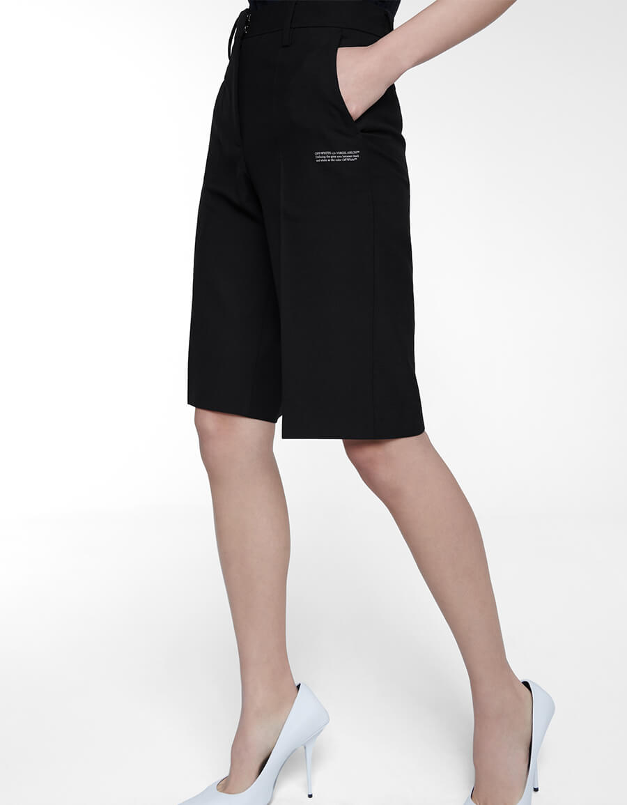 OFF WHITE Mid rise wool blend shorts