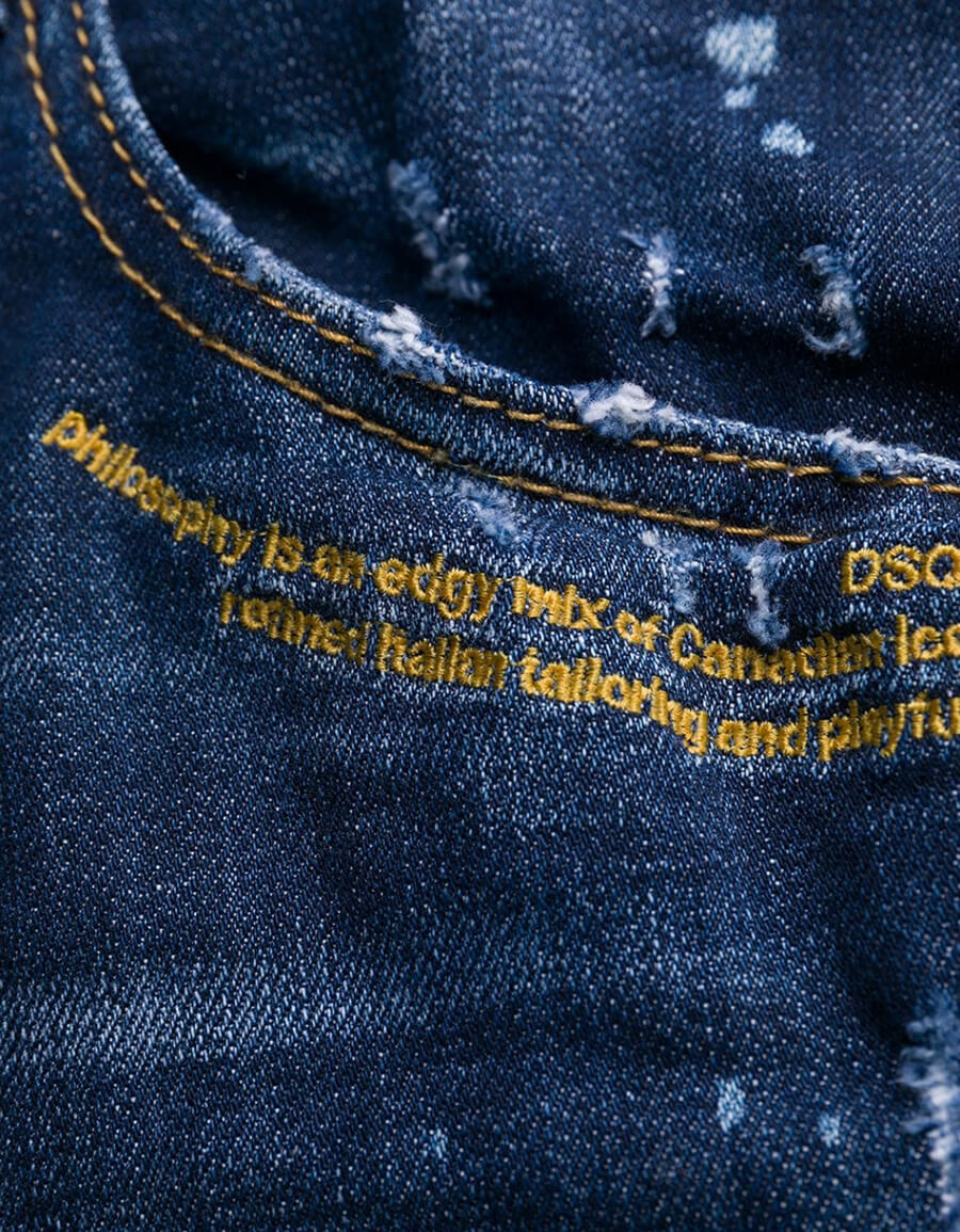 DSQUARED2 COTTON RIPPED SLIM FIT JEANS