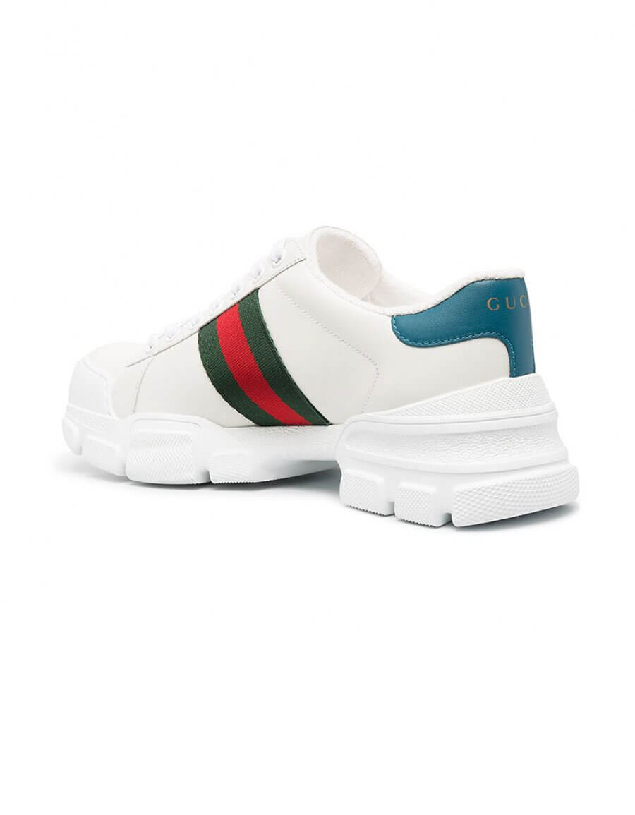 GUCCI ACE WEB LEATHER SNEAKERS