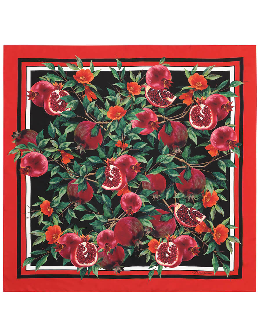 DOLCE & GABBANA Exclusive to Mytheresa Pomegranate print silk scarf
