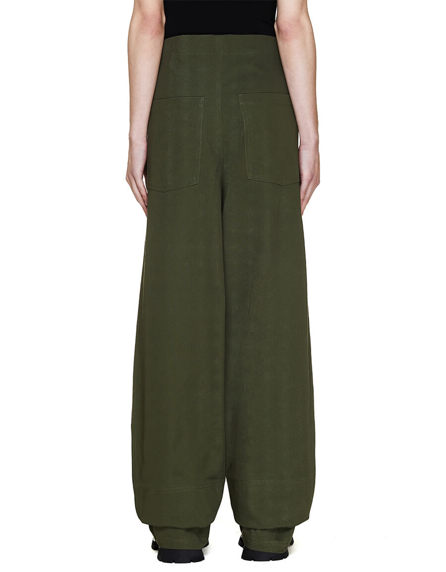 JIL SANDER Green High Waist Trousers