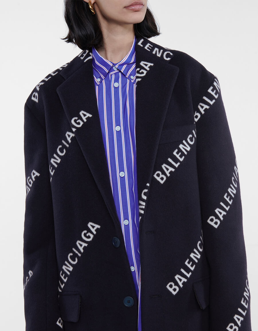 BALENCIAGA Logo wool and cashmere blend coat