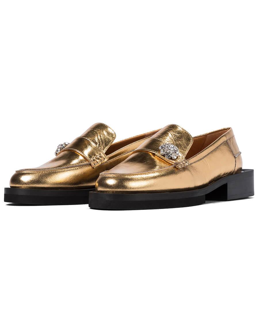 GANNI Jewel metallic leather loafers