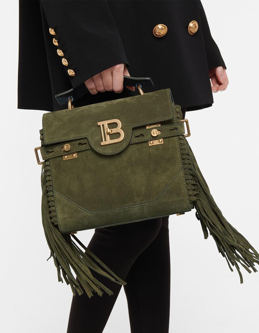 BALMAIN B Buzz 23 Small suede shoulder bag