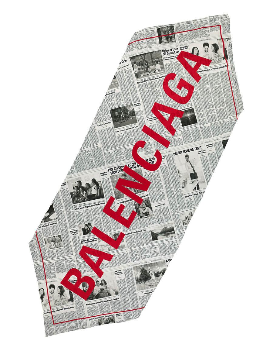 BALENCIAGA Happy News printed silk scarf