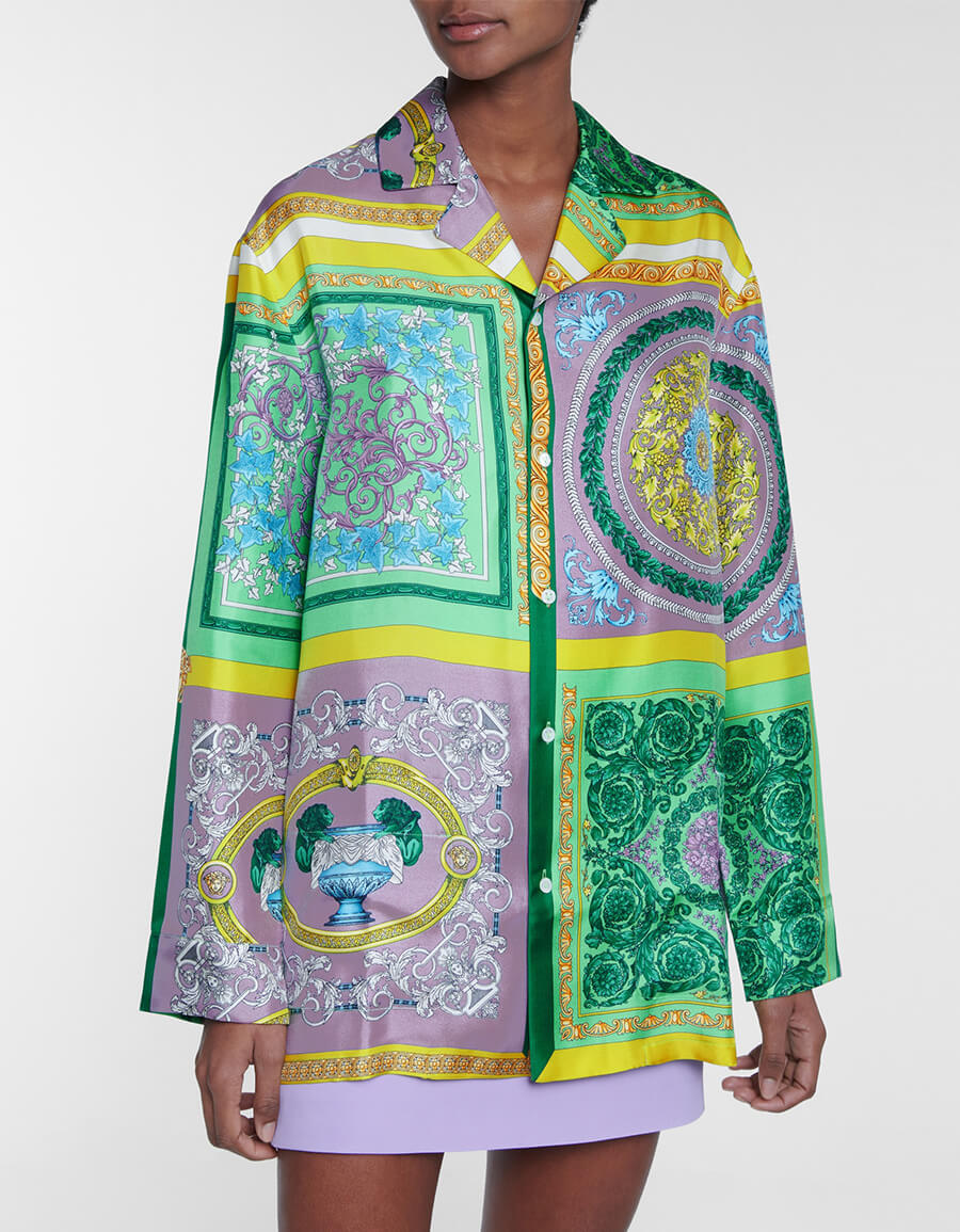 VERSACE Barocco Mosaic printed silk shirt