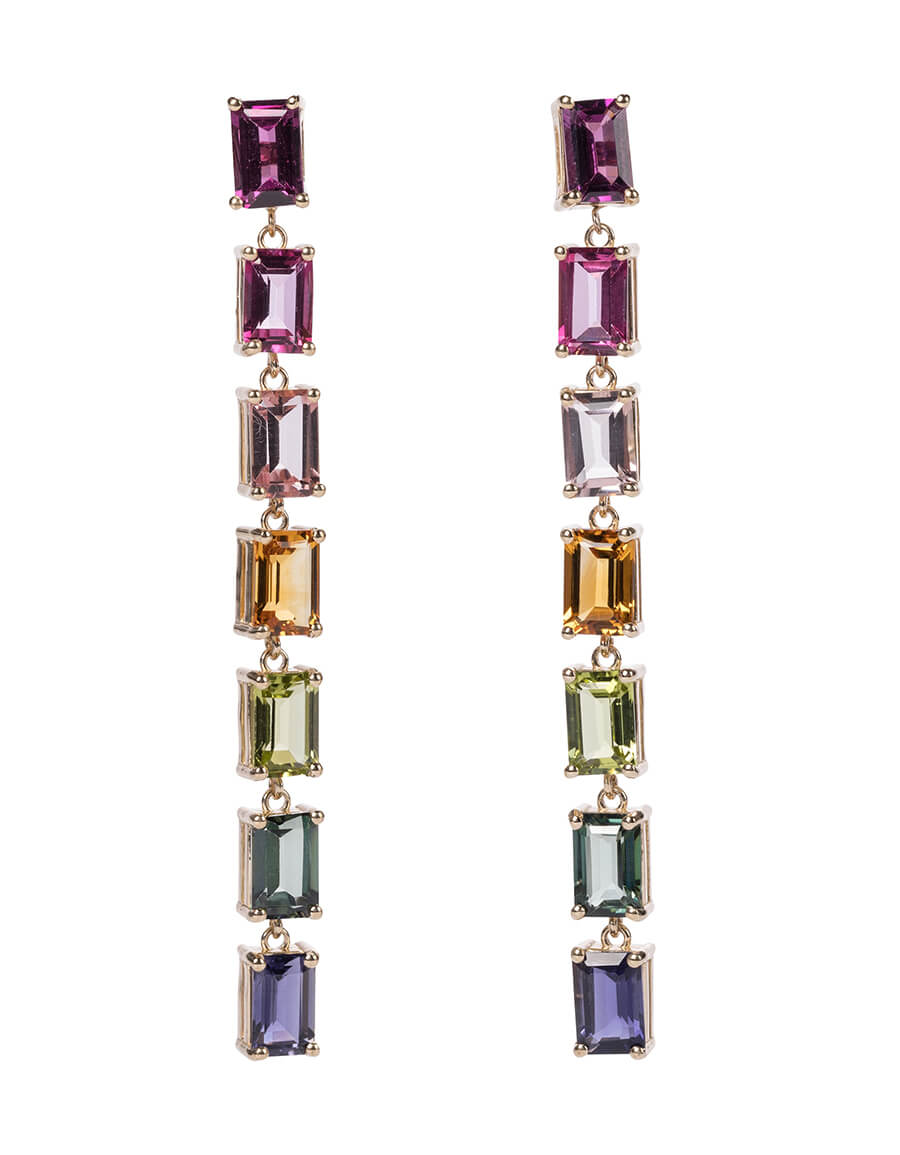 SUZANNE KALAN Gemma Rainbow 14kt gold drop earrings with topaz and rhodolite