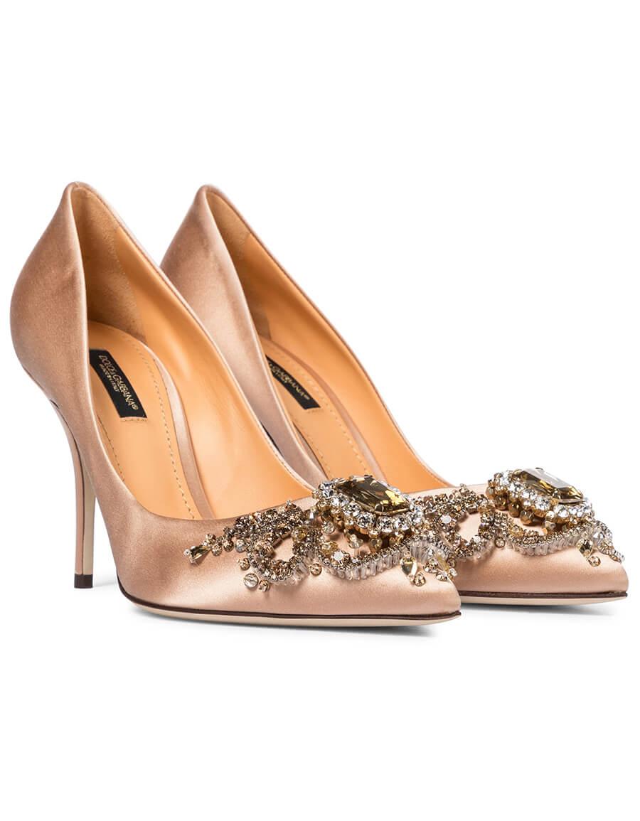 DOLCE & GABBANA Embellished satin pumps