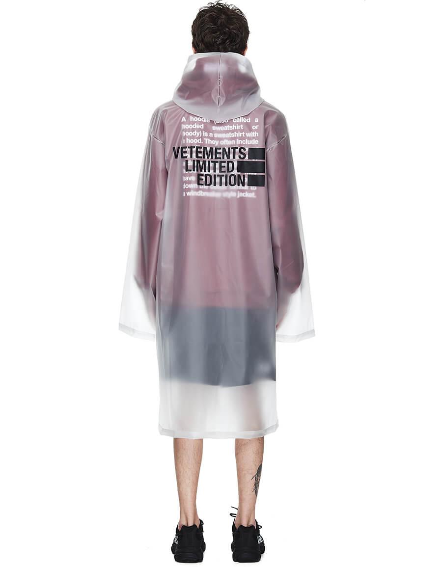 VETEMENTS Transparent Limited Edition Printed Raincoat