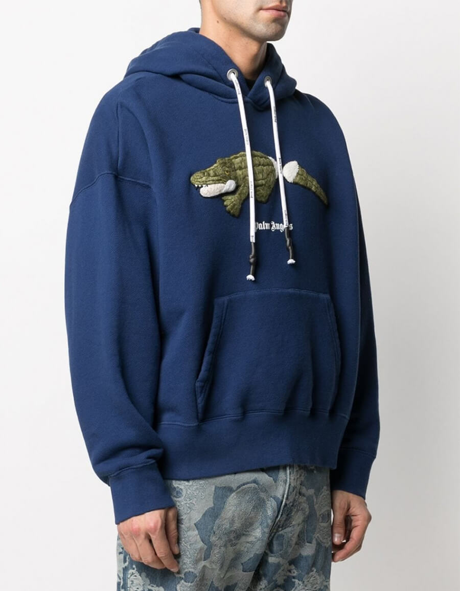 PALM ANGELS CROCO COTTON HOODIE