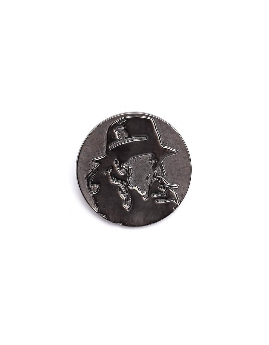 YOHJI YAMAMOTO Round Pin With Yohji's Profile
