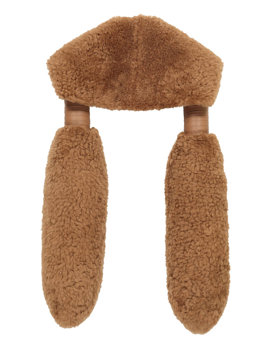 BOTTEGA VENETA Leather trimmed shearling scarf