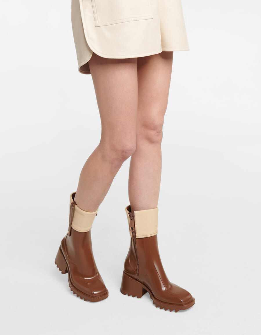 CHLOÉ Betty PVC and canvas ankle boots